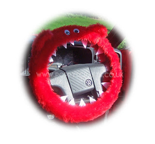 Red Fuzzy Monster Steering wheel cover - Poppys Crafts