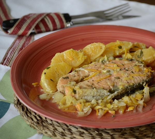 Salmón al horno con salsa de cítricos