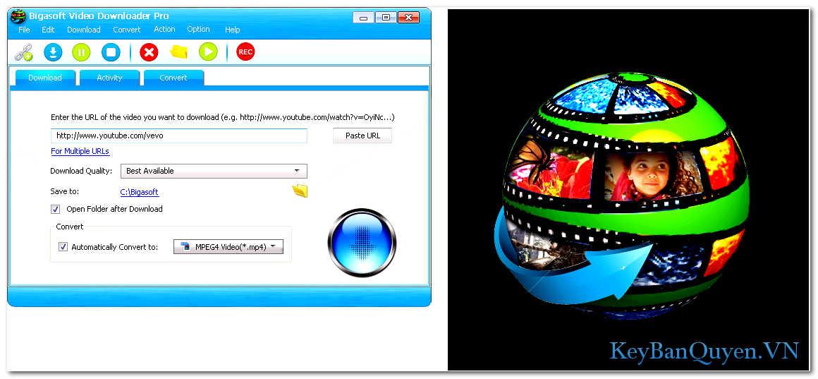 Download và cài đặt Bigasoft Video Downloader Pro 3.17.6.7129 Full Key, Tải và chuyển đổi Video từ hơn 100 Website.