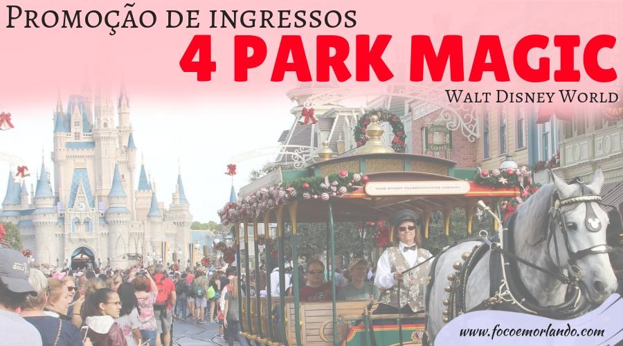 Ingressos promocionais 4-park magic para os parques da Disney em Orlando