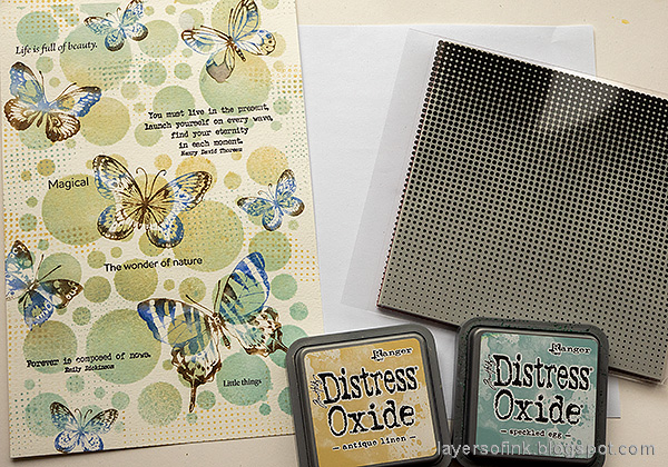 Layers of ink - Beautiful Butterflies Art Journal Page Tutorial by Anna-Karin Evaldsson. Stamp with Simon Says Stamp Halftone Background.