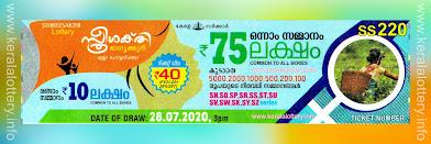 Kerala Lottery Results Today 28.07.2020 Sthree Sakthi SS-220 Result-keralalottery.info