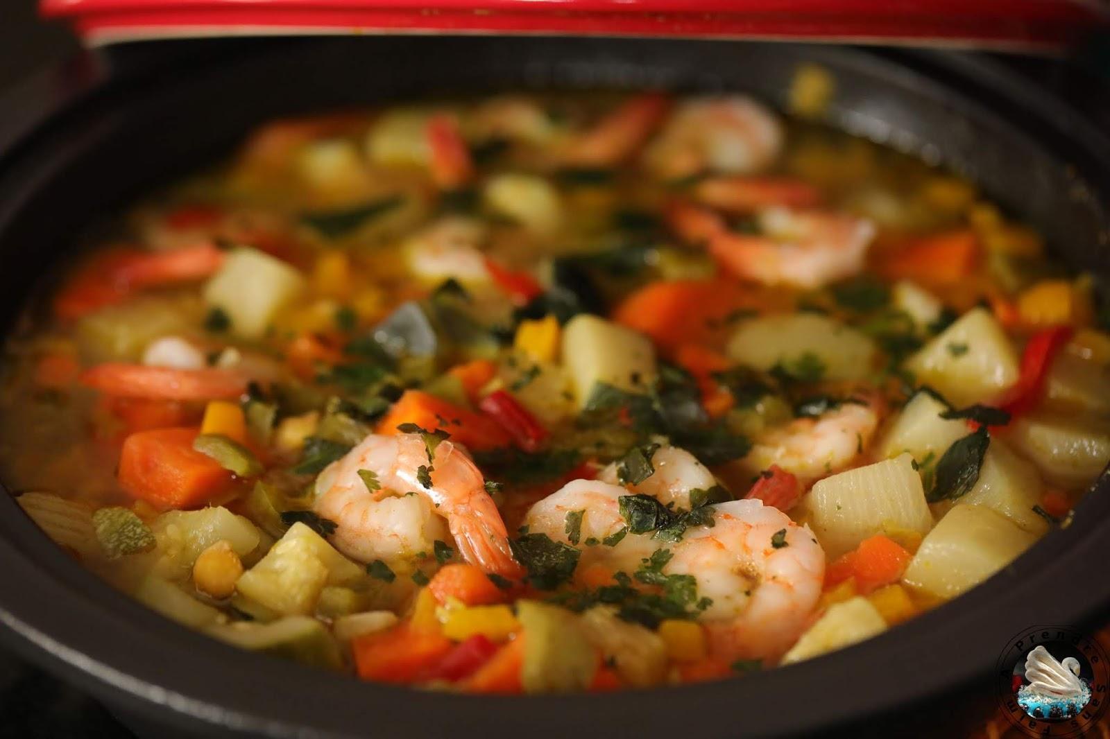 Tajine de crevettes aux légumes