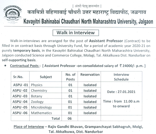NMU Botany/Zoology/Microbiology Contract Faculty Jobs 2021 | Rs. 24,000 pm