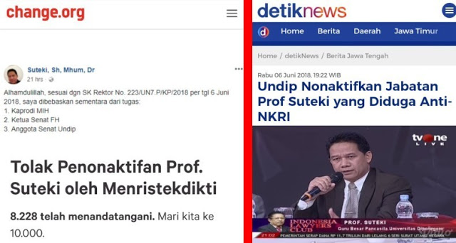 Ribuan Orang Teken Petisi Tolak Penonaktifan Prof Suteki 'Sang Guru Besar Pancasila'