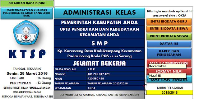 Download Aplikasi Administrasi Kelas SMP kurikulum KTSP