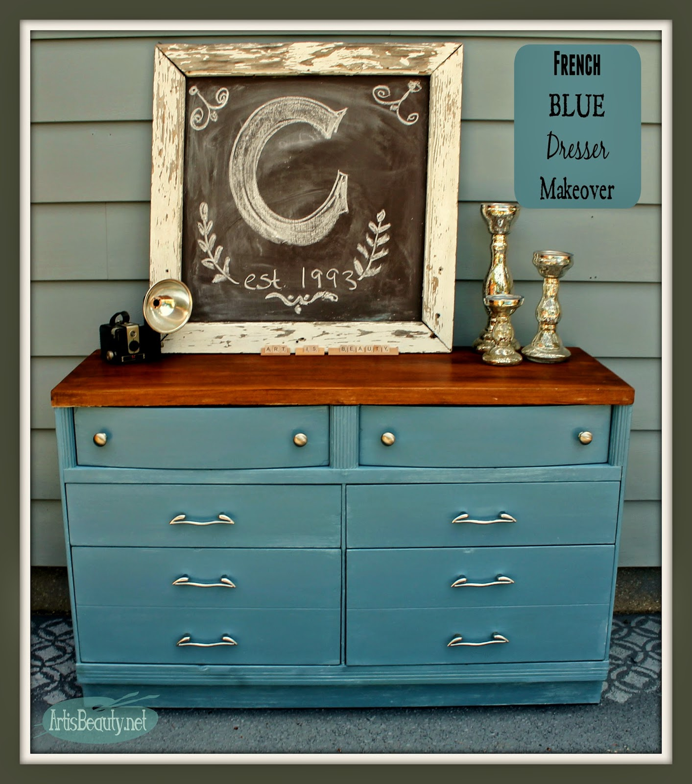 ART IS BEAUTY From Blonde to Brunette French Blue Dresser Makeover