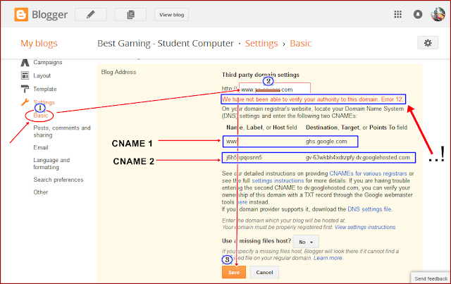 Keterangan Notifikasi Error sewaktu Setting Domain Baru di Blogger (Blogspot)