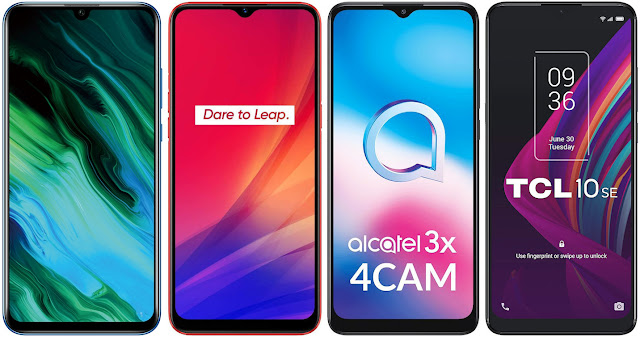 Honor 20e vs Realme C3 vs Alcatel 3X 4CAM vs TCL 10 SE