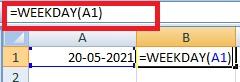 Excel Weekend Formula (Weekday) in Hindi