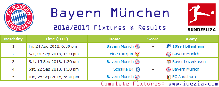 Baixar calendário completo PNG JPG Bayern Munich 2018-2019