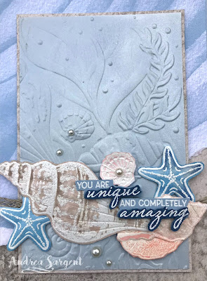 A number of sea shells and a focus on Stampin' Up!s Seaside Spray combine to say 'how unique & amazing' you are on an especially designed card by Valley Inspirations with Andrea Sargent.