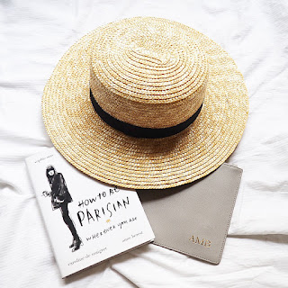 Forever New Bobbie Boater straw hat and The Daily Edited zip pouch