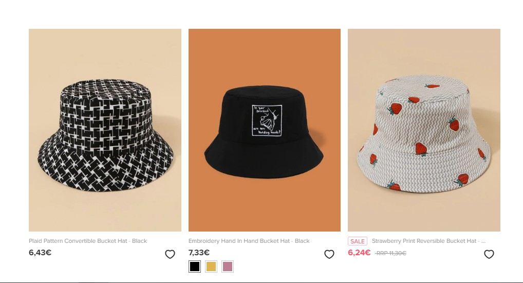 White and black bucket hats
