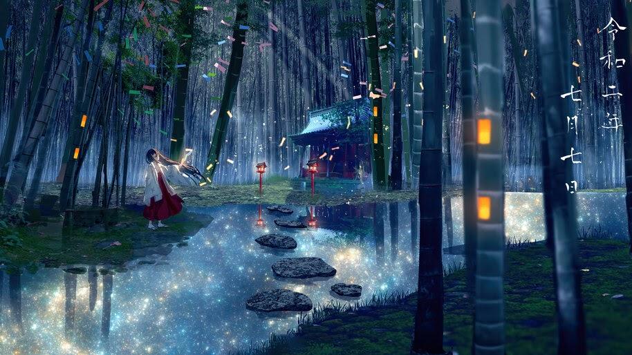 Anime, Girl, Bamboo, Forest, Shrine, 4K, #6.2590