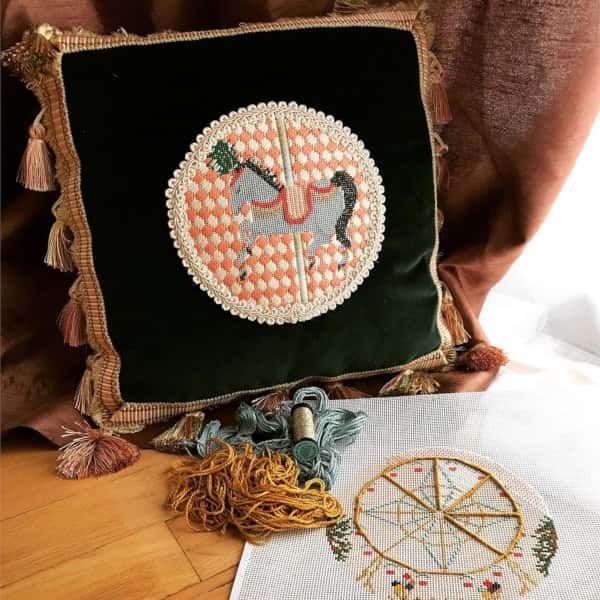 Carousel Horse Needlepoint Cushion