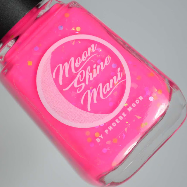 neon pink nail polish with glitter