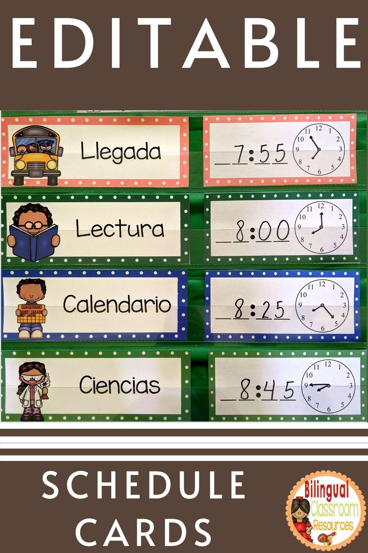 Tarjetas de horario