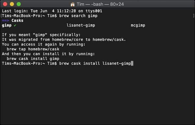 تثبيت البرنامج باستخدام Homebrew لنظام التشغيل macOS