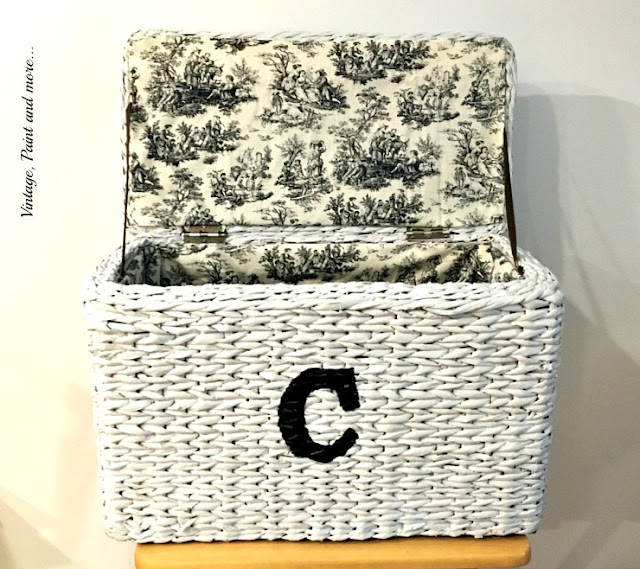 an old hamper made new with paint, stenciling and fabric lining.
