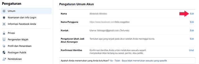 Cara Mengubah Nama FB di PC