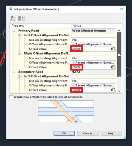 Intersection offset parameters in Autodesk Civil 3D