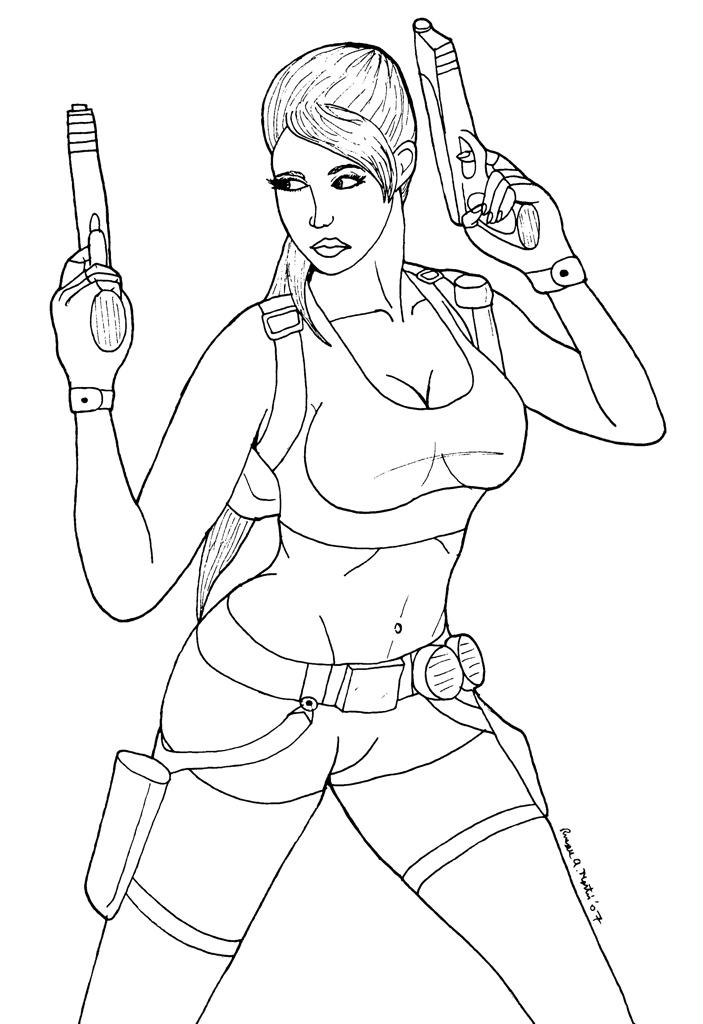 Desenhos da Lara Croft para Colorir
