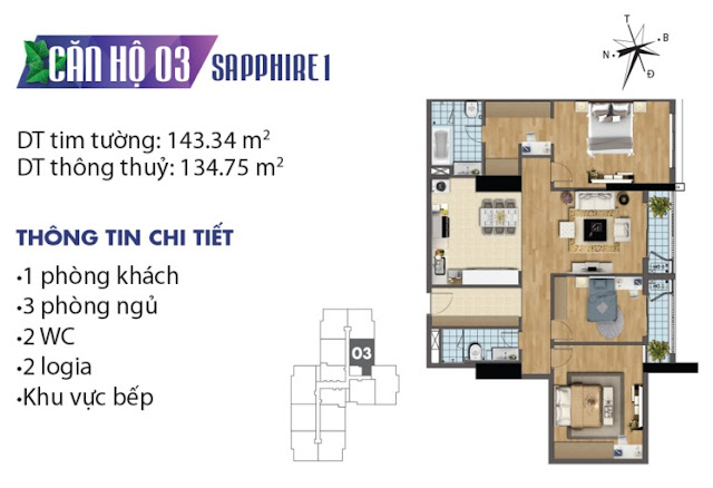 Thiết kế căn hộ số 3 tòa Sapphire 1