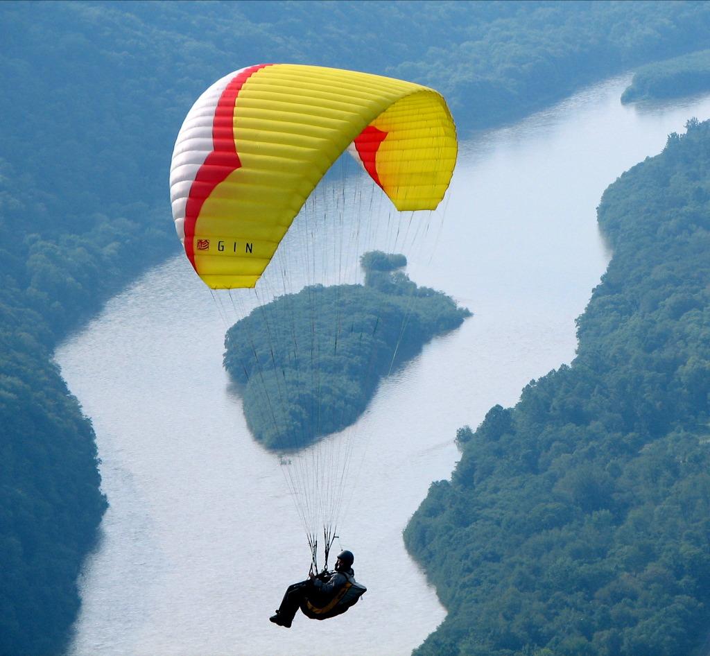 Paragliding on Airplane Engine Start Up