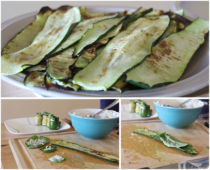Step-by-step instructions for zucchini basil spiral appetizers
