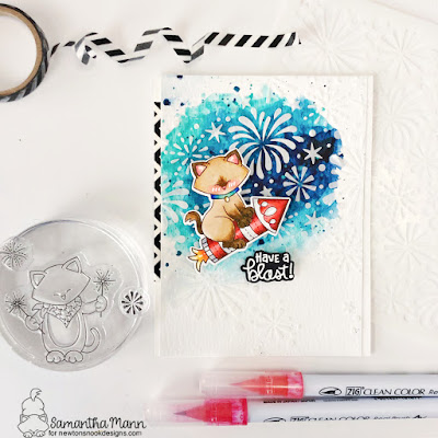 Have a Blast Card by Samantha Mann for Newton's Nook Designs, 4th of July, Fireworks, watercolor, Embossing Paste, Stencil, #newtonsnookdesigns #newtonsnook #fourthofjuly #handmadecards #cardmaking #fireworks
