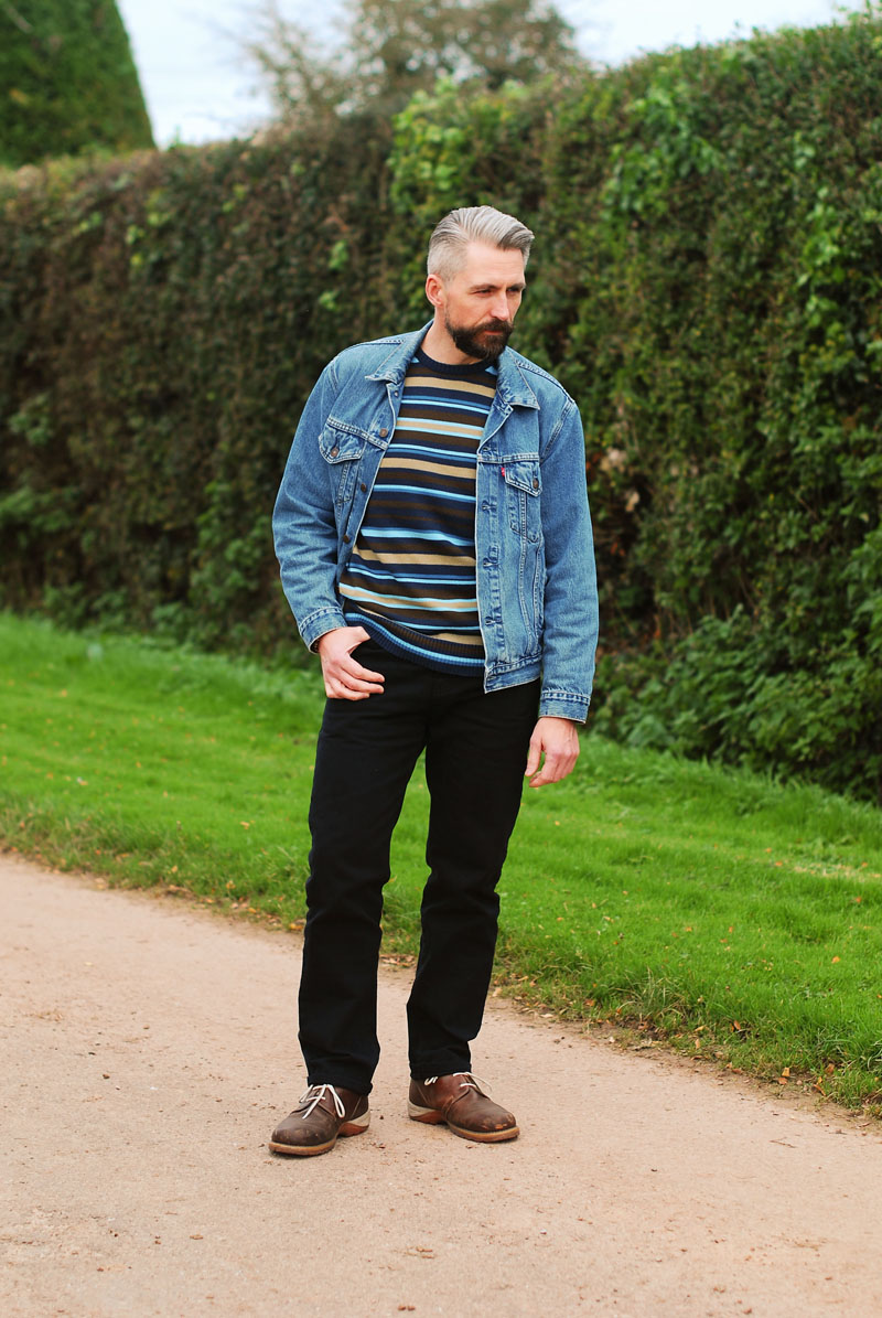 Denim jacket, striped sweater - casual menswear