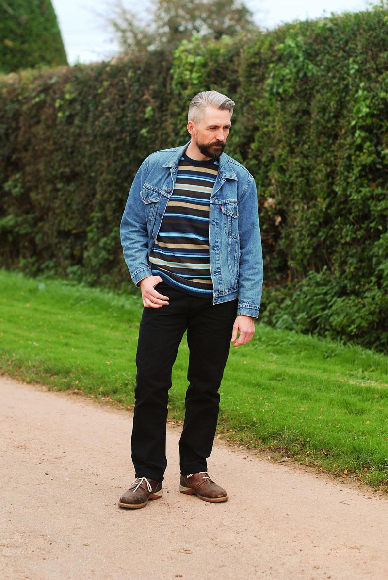 Denim jacket, striped sweater - casual menswear