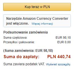 podsumowanie transakcji zakupu Kindle Paperwhite 3 w wielkanocnej promocji z 2018 r.