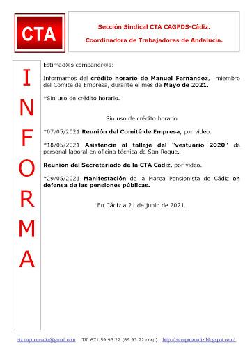 C.T.A. INFORMA CRÉDITO HORARIO MANUEL FERNANDEZ, MAYO 2021