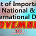 NOVEMBER - List of Important National and International Commemorative Days (November Month)