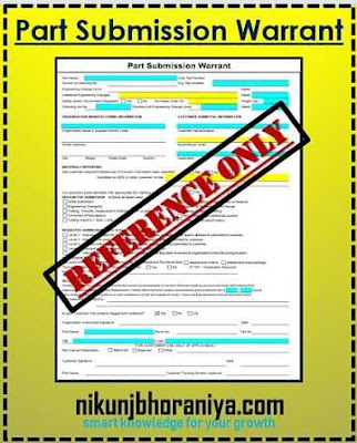 Part Submission Warrant (PSW) in PPAP