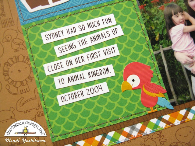 Doodlebug Design At The Zoo Disney Animal Kingdom Scrapbook Layout by Mendi Yoshikawa