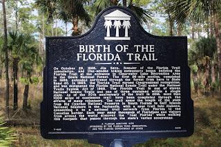 Marcador histórico en el Florida Trail, Ocala Nat'l Forest