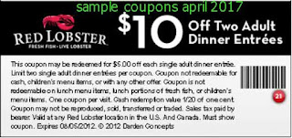 Red Lobster coupons for april 2017