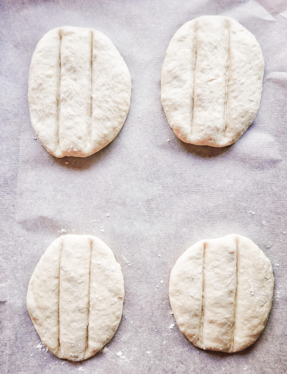 Telera rolls shaped before baking