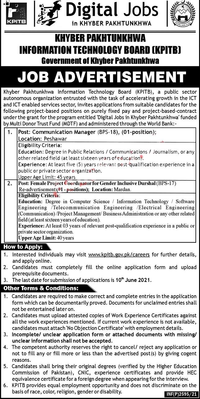 Latest Jobs in Khyber Pakhtunkhwa Information Technology Board  KPITB 2021