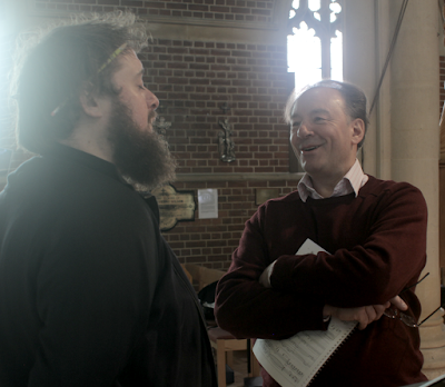 Allan Clayton and Ian Venables at the recording session for Love Lives Beyond the Tomb