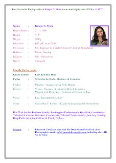 Matrimonial Biodata Format