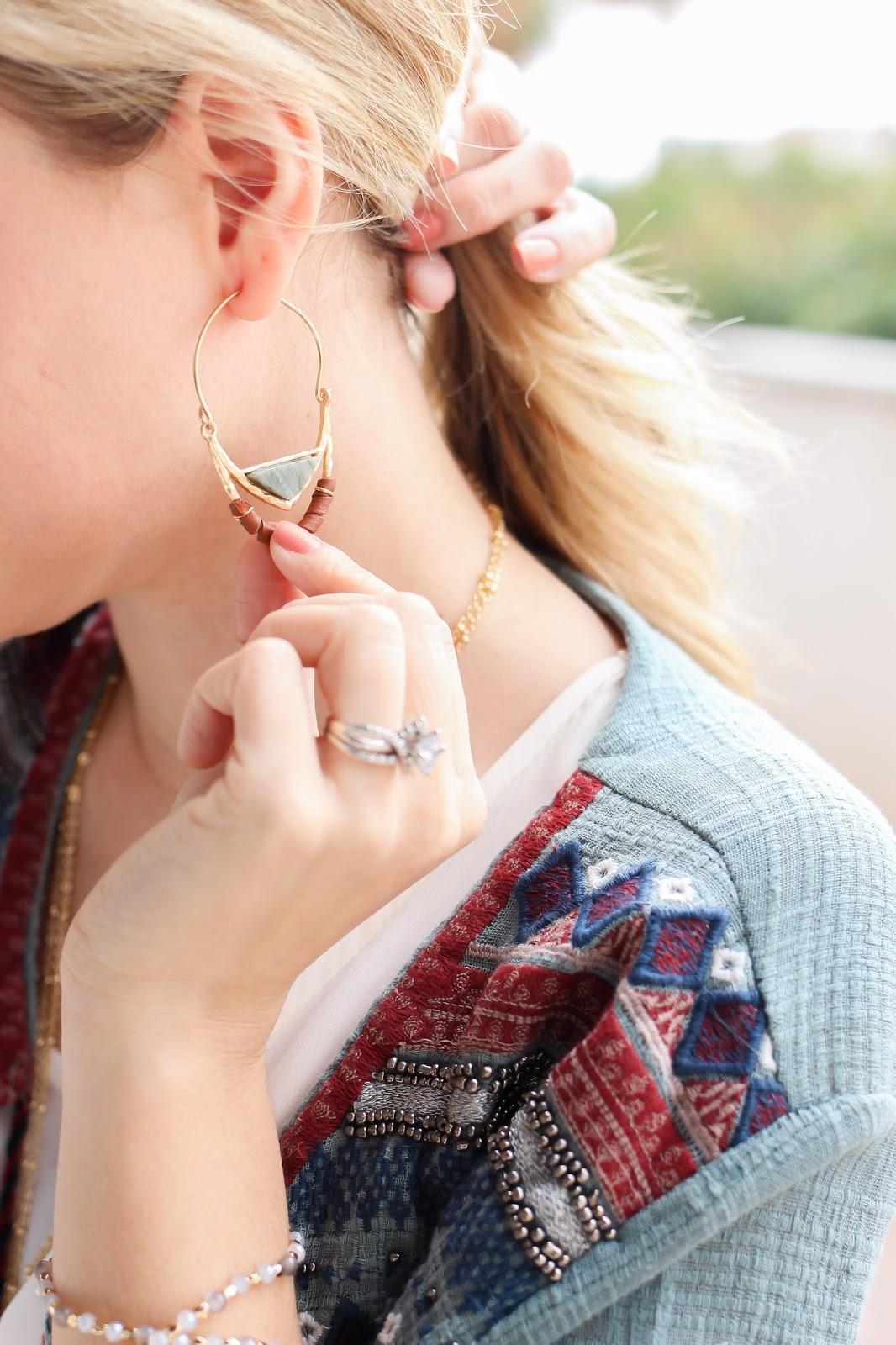 simply sutter - earrings - tassel necklace - tassel - cardigan