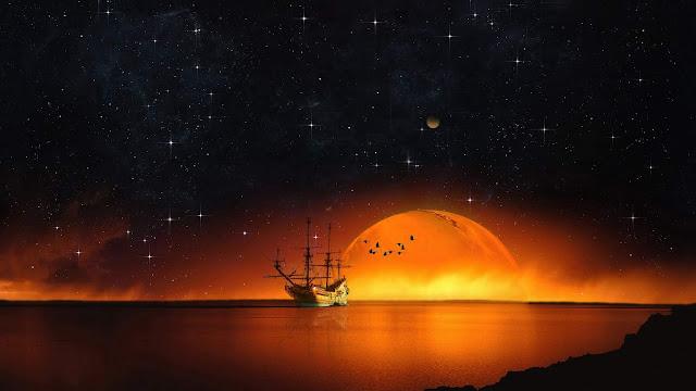 Navio, Céu Estrelado, Noite, Mar