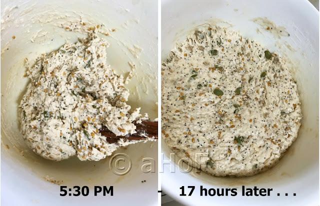Dough just mixed - Dough risen following day
