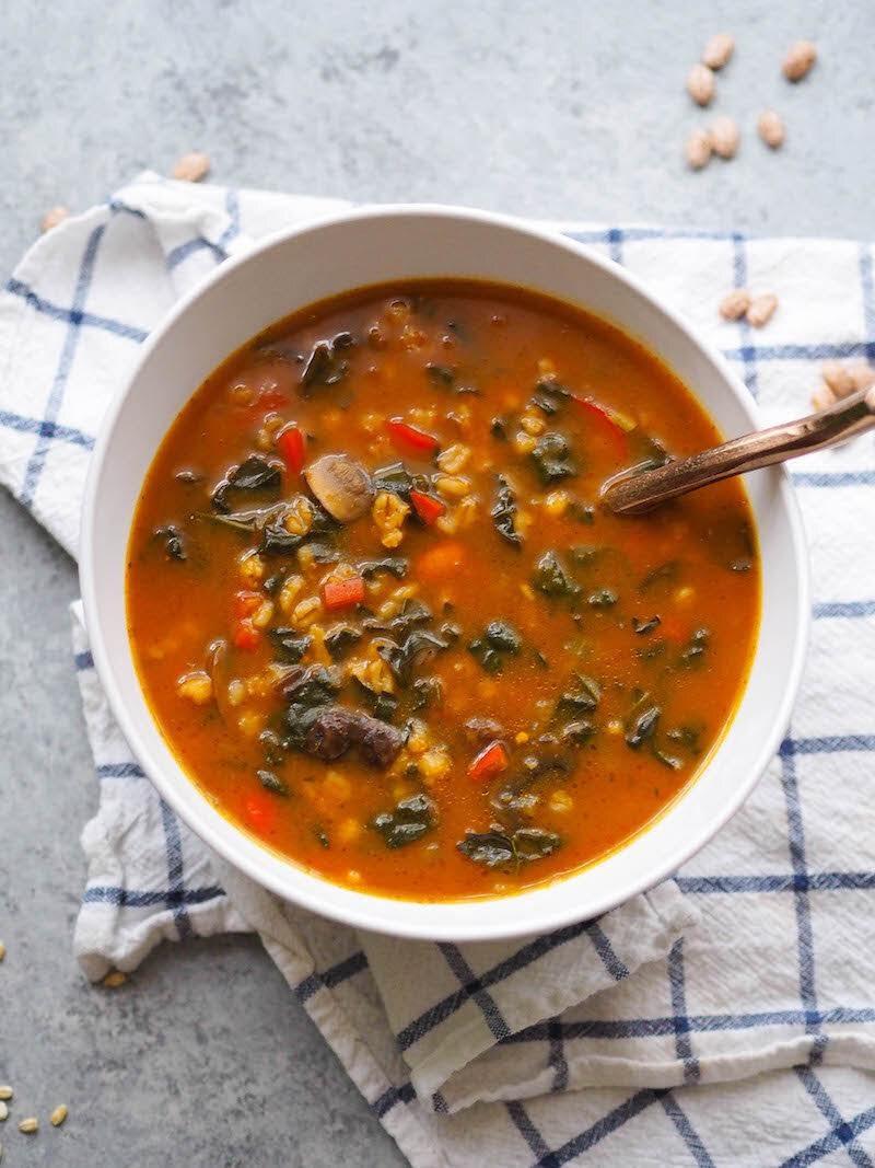 Instant Pot Vegan Mushroom Barley Soup with Pumpkin | Rachael Hartley Nutrition