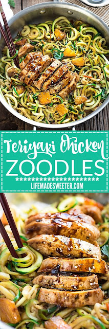 One Pot Teriyaki Chicken Zoodles + Meal Prep