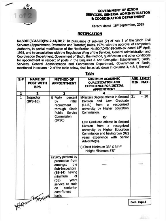 RULES & METHOD OF RECRUITMENT OF SUB-INSPECTOR AND INSPECTOR